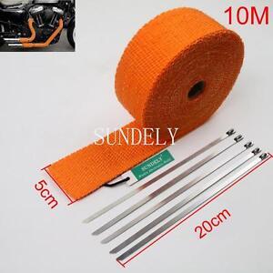 "2"" x 10M Orange Exhaust Heat Wrap Manifold Downpipe High Temp Bandage Tape Roll"