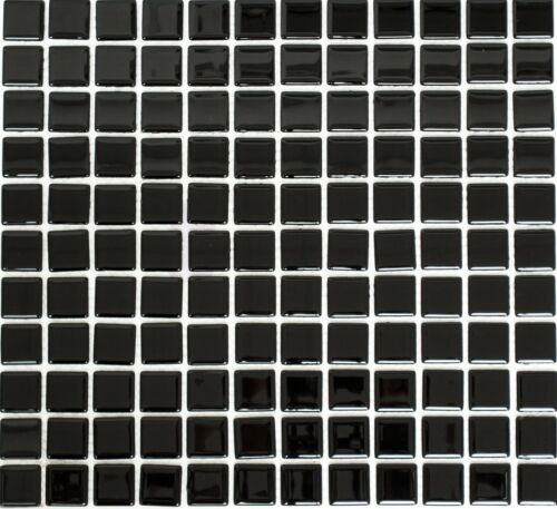 Glasmosaik schwarz Fliesenspiegel Küchenrückwand Duschtasse 60-0304/_b