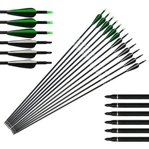 Archery-Fiberglass-Arrows-31-034-Replaceable-Tips-Recurve-Compound-Bow-Black-SP550