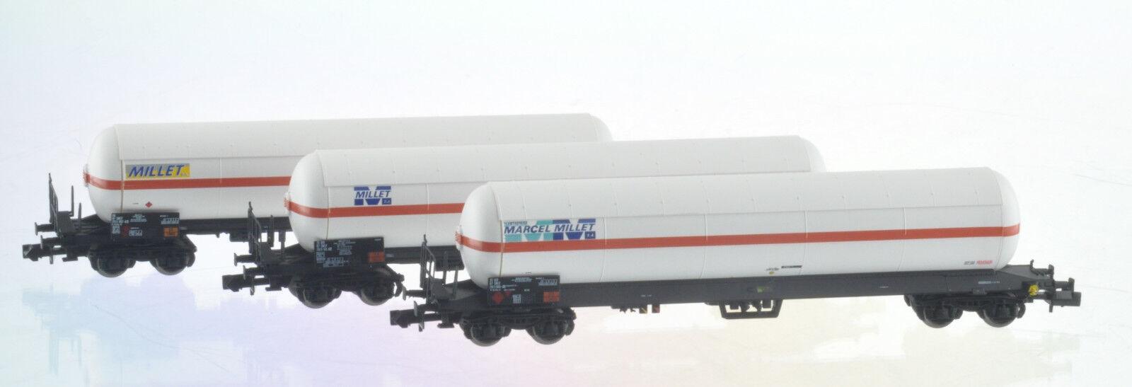 Ls modellolo 60136 Set 3x SNCF 4achs Kesselwag Uas Millet Biancoarancia Ep45 Neu