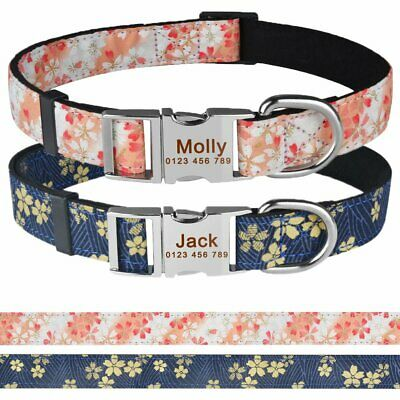 Custom Dog Collar with Name Engraved Buckle Personalized Nylon Dog Collars S M L