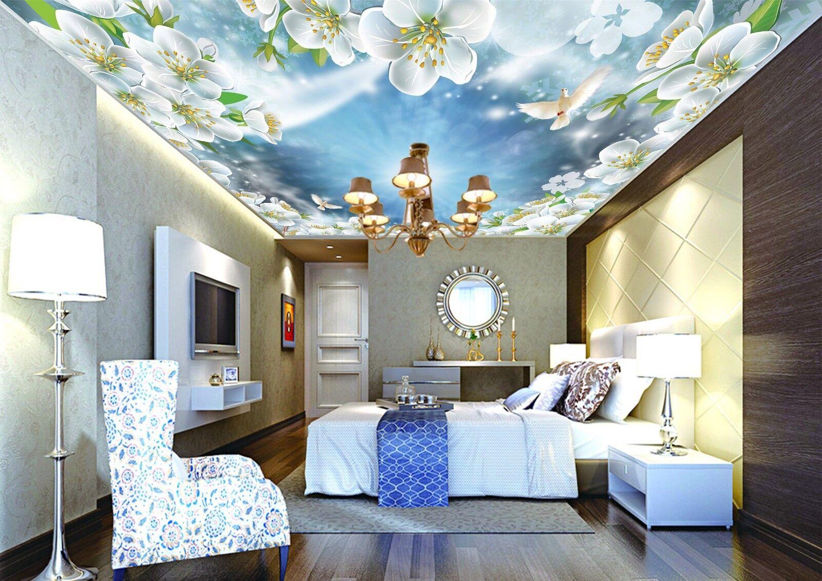 3D White Flower Dove 8 Wall Paper Wall Print Decal Wall Deco AJ WALLPAPER Summer