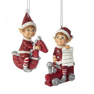 image is loading kurt adler set of 2 elves on toy