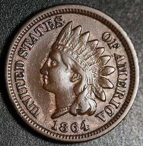 1864-INDIAN-HEAD-CENT-With-LIBERTY-VF-VERY-FINE-Details-Bronze