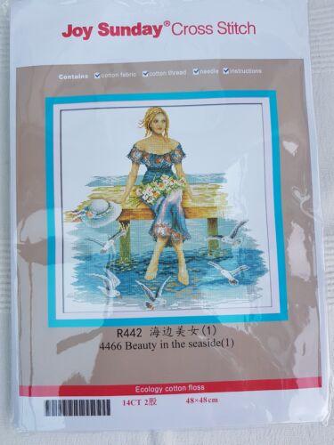 Beauty al mare PUNTO CROCE KIT 14 CT dimensioni 48 x 48 cm JOY DOMENICA NUOVO con confezione