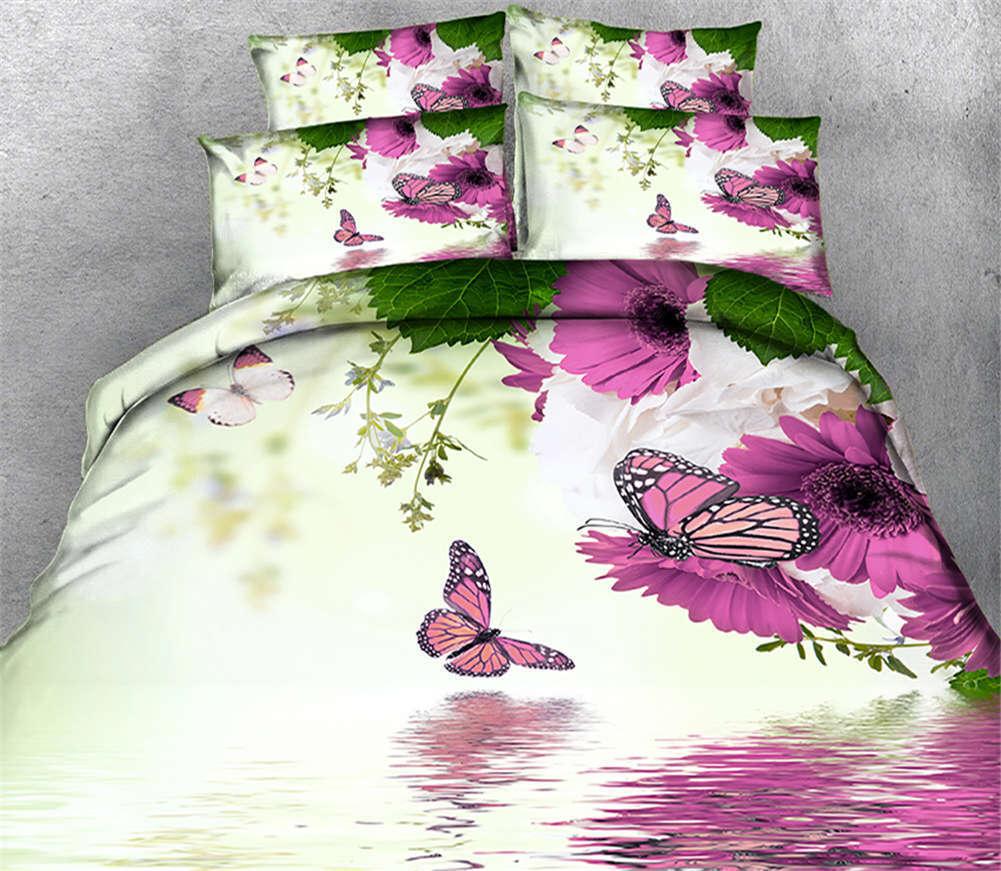 lila Butterfly 3D Druckening Duvet Quilt Will Startseites Pillow Case Bettding Sets