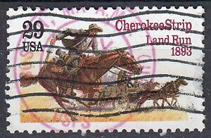 USA-Briefmarke-gestempelt-29c-Cherokee-Strip-Land-Run-1893-TOP-Rundstempel-541