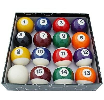 "NEW Set of 16 Miniature Small Mini Pool Balls Billiards 1-1/2"" Tiny Pocket Sized"