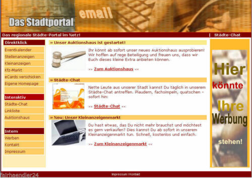 STADTPORTAL WEBPROJEKT Verzeichnis für Firmen Vereine WEBSEITE E-LIZENZ NEU
