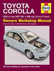 haynes 4791 workshop repair manual guide toyota corolla 02 07 51 rh ebay com 2007 toyota corolla service manual pdf 2007 toyota corolla service manual