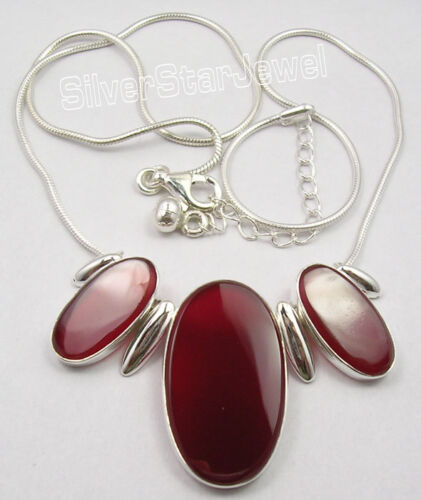 Argent Sterling 925 Red Fire Big Carnéol 3 Pierre Chaîne Serpent Collier 18.25/""
