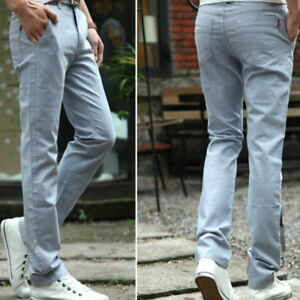 Men-Linen-Elastic-Straight-Leg-Casual-Trousers-Pants-Thin-Slim-Fit-Soft