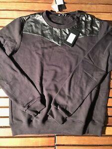 Saint-Laurent-Black-Leather-Sweater-Size-XL-New