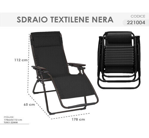 SDRAIO TEXTILENE NERA 178x65cm PER GIARDINO SPIAGGIA PIEGHEVOLE