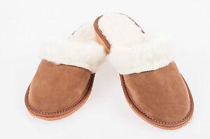 Las-mujeres-s-ladies-calido-Zapatillas-100-Cuero-Gamuza-amp-sheepwool-Tamano-UK3-4-5-6-7-8