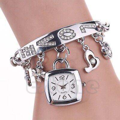 Fashion Women's Chic Love Rhinestone Stainless Steel Chain Bracelet Wrist Watch
