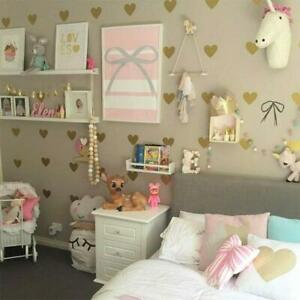 Gold-Heart-Shape-Wall-Stickers-Love-Hearts-Decal-Girls-Bedroom-Kids-Nursery