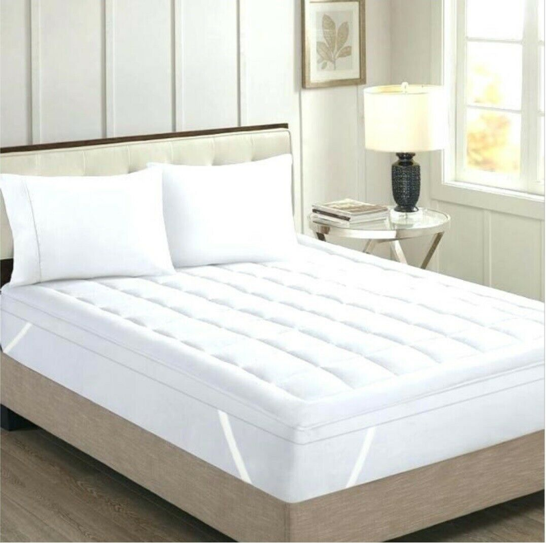 Luxury King Size White Striped Mattress Pad Egyptian Cotton 21 Inch Deep Pocket