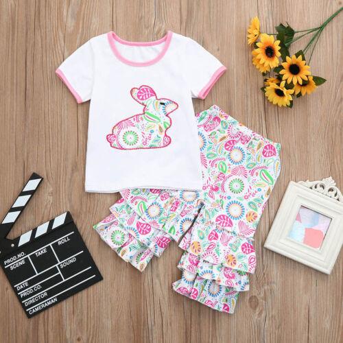 Cute 2PCS Children Kid Baby Girl Cartoon Top Shirt Long Pants Outfit Set Clothes