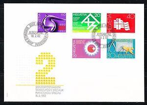 Switzerland-1982-FDC-cover-Mi-1216-1220-Sc-710-714-Science-Sport-Culture-Chemist