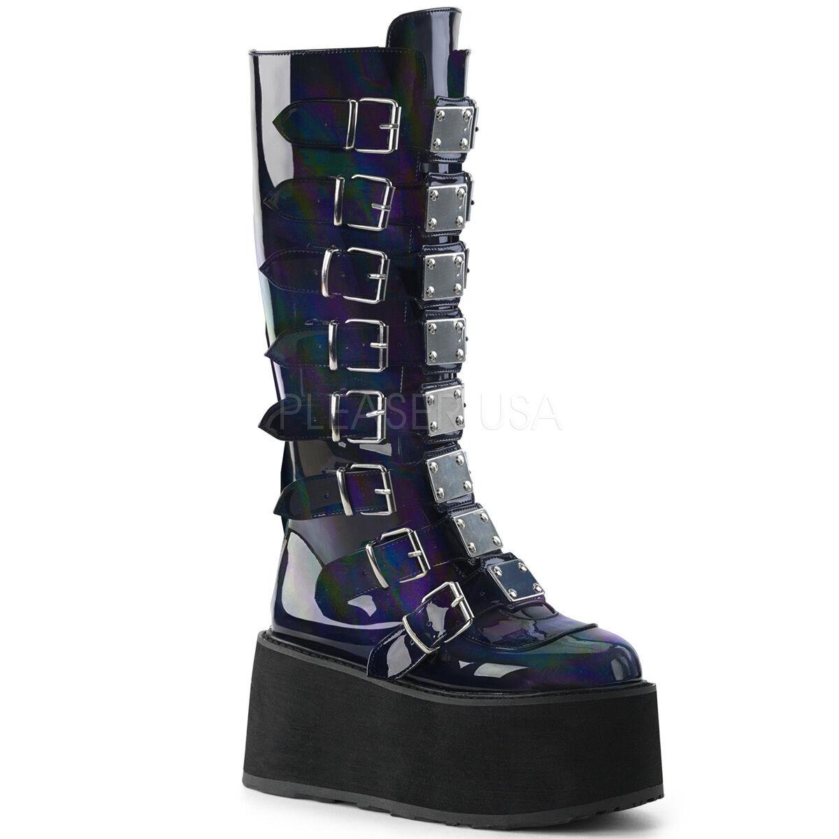 Demonia Blk Hologram 3.5  Platform Buckle Metal Plate Knee Boots Club Goth 6-12