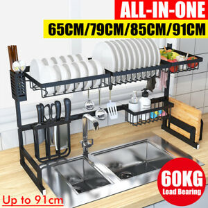 Large-Over-Sink-Dish-Drying-Rack-Drainer-Stainless-Steel-Kitchen-Holder-Shelf