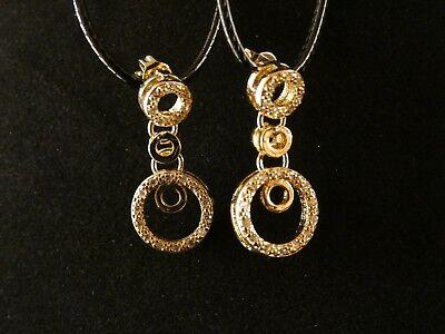 Ohrringe Ohrhänger Zirkonia weiß 750er Gelbgold 18 Karat vergoldet O3057S