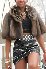 New Designer Elie Tahari Silver Tip Barguzine Russian sable Fur Coat jacket S-6