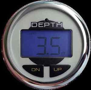 OEM Blue Backlight LED Depth Finder/Sounder w/Temp - Thru-Hull Transducer