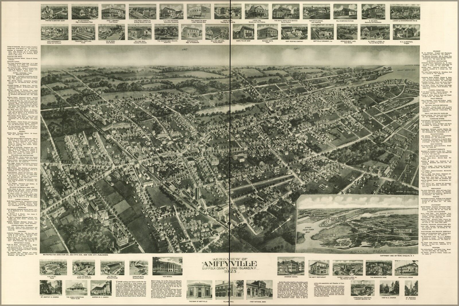 Poster, Many Größes; Aero-View Map Of Amityville, Suffolk County, Long Island, Ne