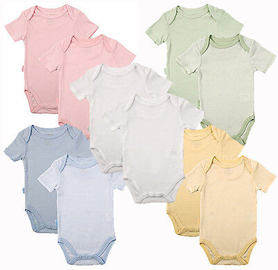 Kushies 2 Pack Cotton Short Sleeve Tagless One Piece Layette Bodysuits 533533