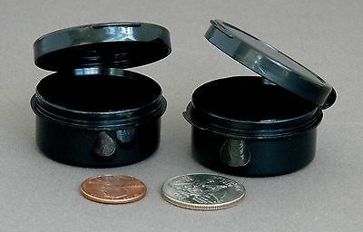 6 Hinged Plastic Jars Sample Containers or Travel Pill Cases 10ml BLACK BPA-free