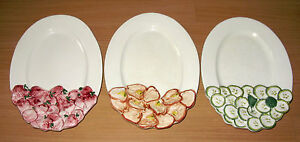 Vintage Set Of 3 Oval Plates Peppers Cucumbers Radishes