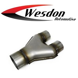 3.0 X 2.5 Inch Dual Diameter Inlet 10.0 In OAL Exhaust SS Stamped Y Pipe