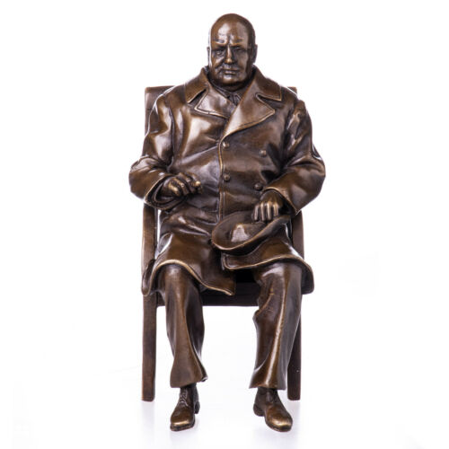 Bronzeskulptur Winston Churchill Statue Marmorsockel Bronzefigur Skulptur 17cm