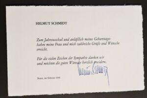 Helmut Schmidt original Autogramm,Dankesschreiben,verstorben, SPD, Bundeskanzler