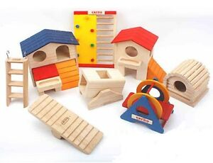 Hamster Mice Gerbils Wood Tunnel Tube House Playground Rodents Cage Exercise Toy
