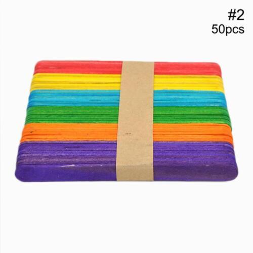 50X Wooden sicle Sticks Wood Ice Cream Sticks DIY Ice Cream Lolly Cake U9O0
