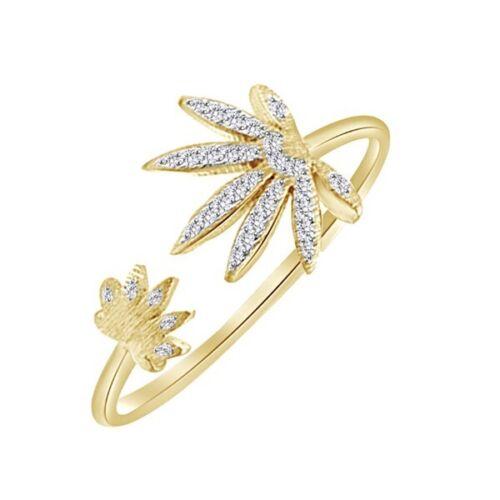 0.10 Ct Diamond Marijuana Leaf Ring 14K Yellow Gold Over 925 Sterling Silver