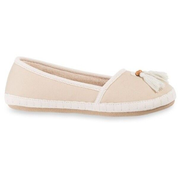 isotoner Totes Sandtrap Beige Canvas Slippers Lola Microterry Lined Tassel Slippers Canvas - $28 8e4f1f