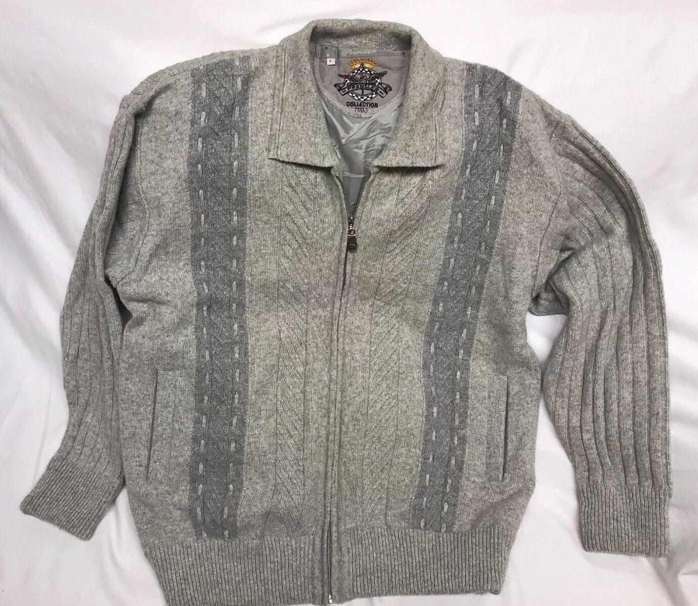 Unique Prensler  Sweater Zipper Cardigan  Herren L 80% Lambswool 20% Acrylic