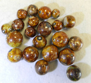 #12996m Vintage Group of 20 German Handmade Bennington Marbles .45 to .80 Inches