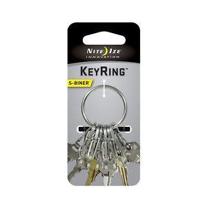 Nite-Ize-KeyRing-Steel-Stainless-Keychain-w-Versatile-S-Biner-Key-Clips-Key-Ring