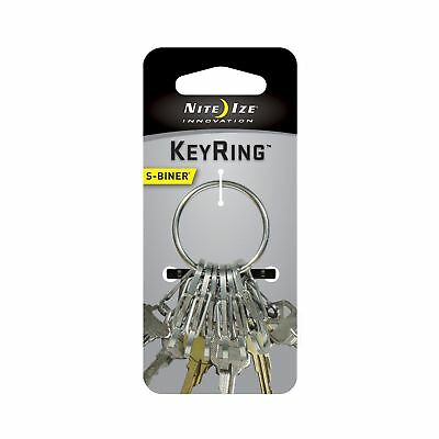 3-Pack Nite Ize KeyRing Steel Stainless Keychain w//Versatile S-Biner Key Clips