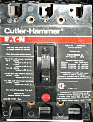 Type FS Molded Case Circuit Breaker FS360060A 3 Pole 600V 60 Amp