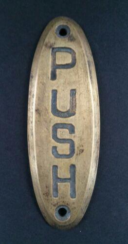 "PUSH Door or Bell sign Antique Original Reclaim Art Deco Solid Brass 4/"" #F6"