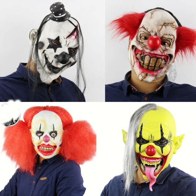 Halloween Mask Scary Clown Latex Full Face Mask Party Costume Cosplay 4 Styles