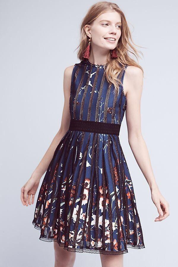 NEW Anthropologie Bryonia Dress by Foxiedox, Open Back, Blau Größe Sz Medium M