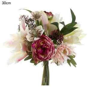 New artificial fake silk flower peony anemone skimmia bouquet pink red mightylinksfo