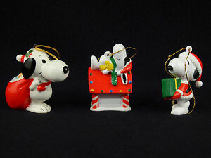buy online a7cc3 4533b Details about Peanuts SNOOPY CHRISTMAS ORNAMENTS United Feature Syndicate -  Set of 3